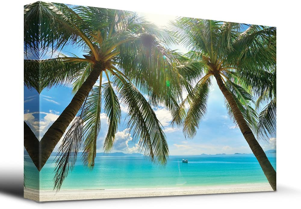 Fascinating Artistry, Tropical Beach Palm Trees Overlook Ocean, With Expert Quality