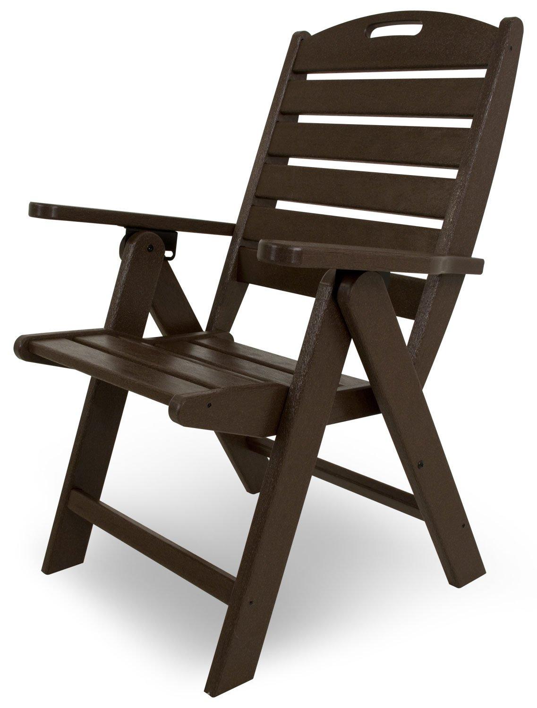 POLYWOOD NCH38MA Nautical Highback Chair, Mahogany