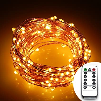 Remote 8 Modes Battery Operated 10 Meter 100 Led Copper Wire Lights Outdoor Micro Led Starry String Light With Timer Warm White