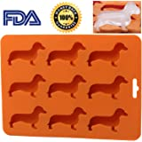 Dachshund Ice Tray with BPA free Silicone Ice Cube Trays in Dachshund Dog Shaped Chocolate and Ice Cube Silicone Mold