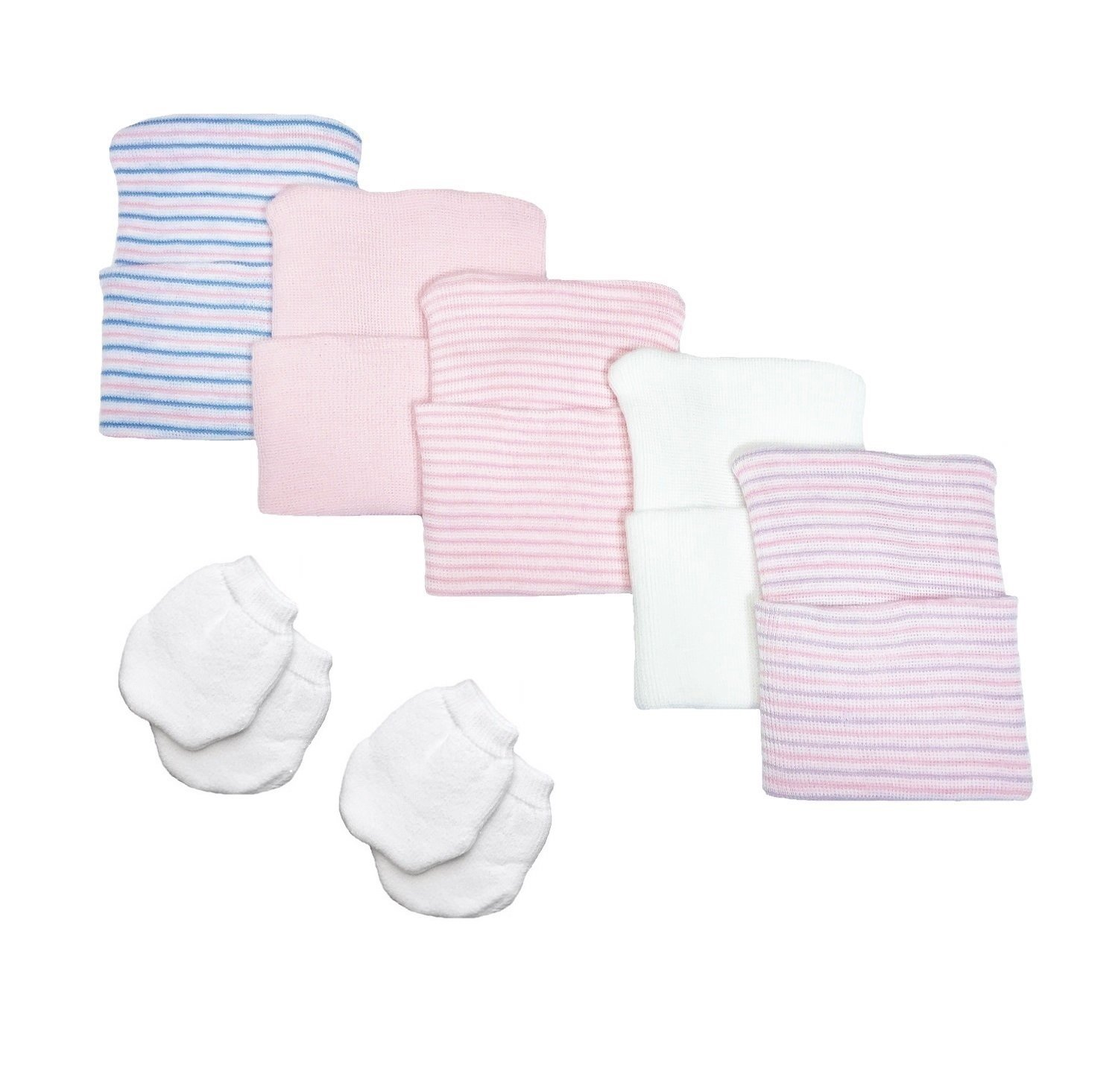 38e9af498a59 Amazon.com  5 Piece Hospital Hat   Mitten Set for Newborn Baby (Girl) by  Nurses Choice  Baby