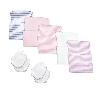 Amazon.com  5 Piece Hospital Hat   Mitten Set for Newborn Baby (Girl ... b718eb6d4