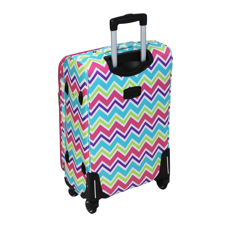 Purple Trim Chevron Multi World Traveler 3 Piece Expandable Upright Spinner Luggage Set One Size 81T6703-172