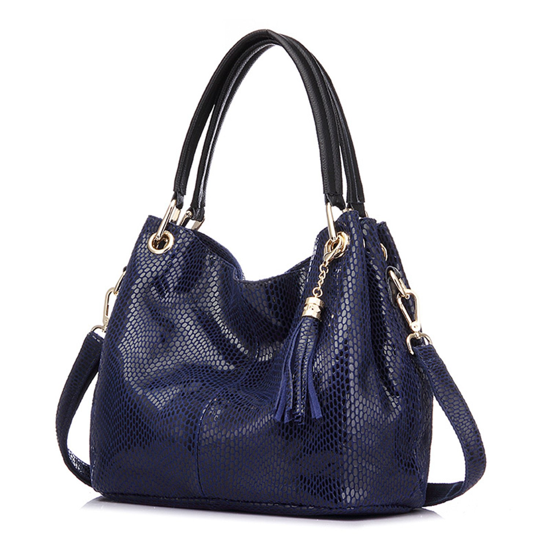 bluee Woman Handbags Genuine Leather Bag Female Hobos Shoulder Crossbody Bags Leather Totes Women Messenger Bag