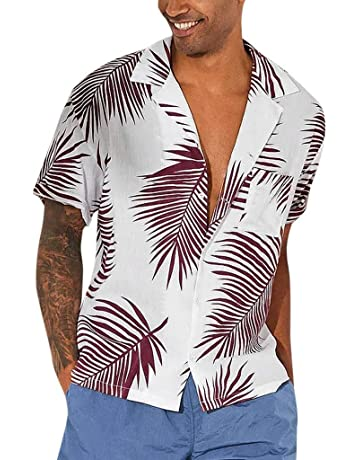 746bb0a6148 MEETEW Men's Regular Fit Camp Palm Tree Short Sleeves Button Down Hawaiian  Shirts Beach Holiday Party