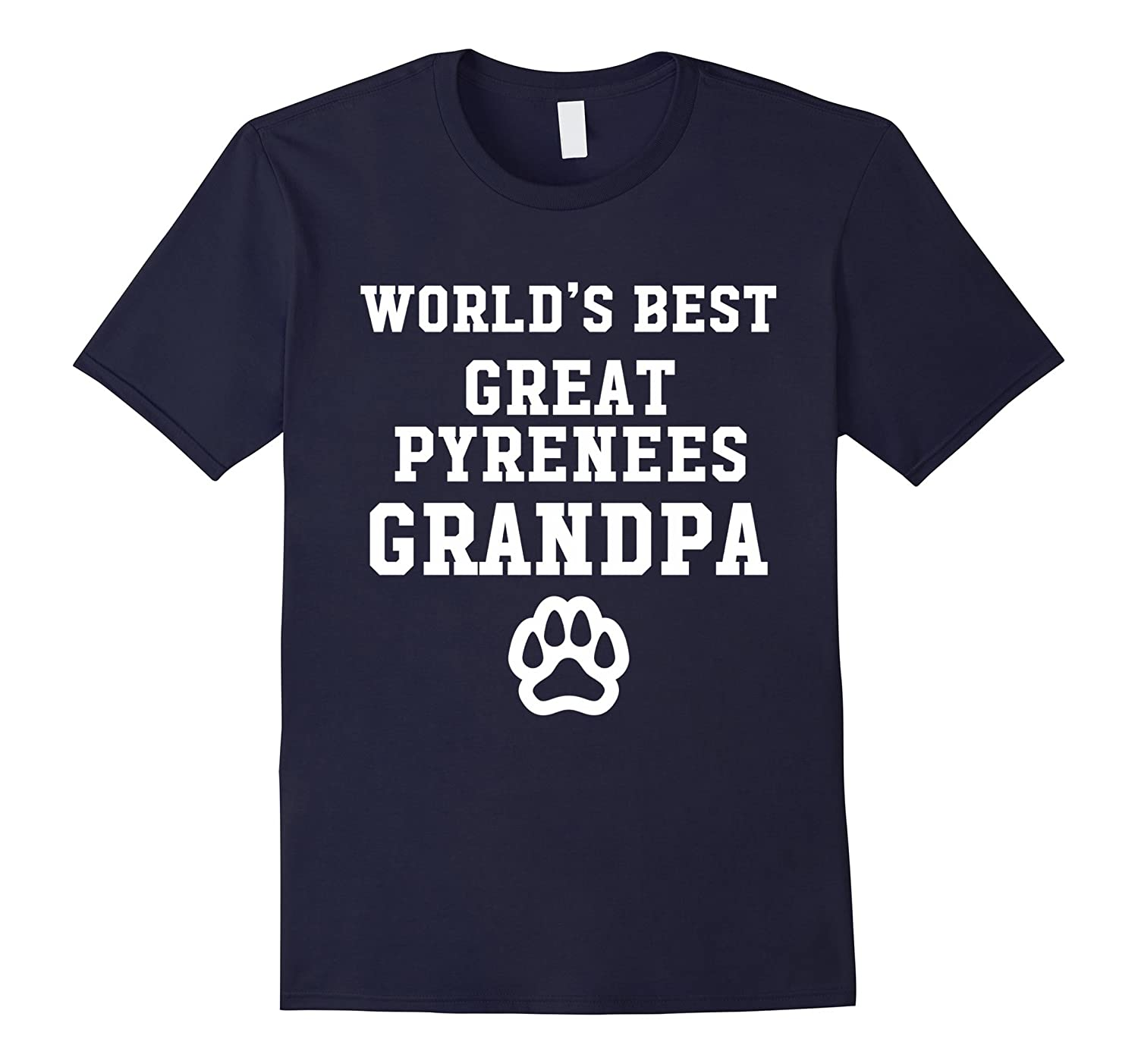 World's Best Great Pyrenees Grandpa Dog Lover Pawprint T-Shirt-Art