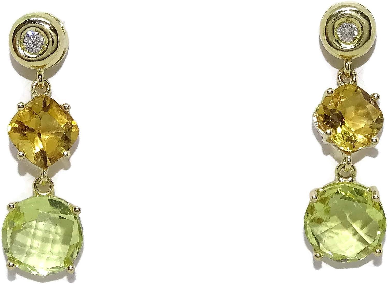 Pendientes exclusivos de oro amarillo con 0.10cts de diamantes y piedras finas, citrino y cuarzo limon. 2.60cm de largos. Cierre presión