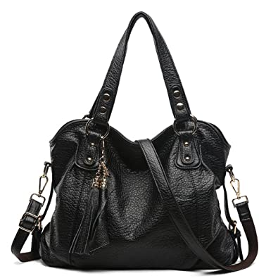 Big Lady Purse Women Handbags Soft Leather Tote bag Shoulder Bag With  Tassel(Black) 5f66b96fcf23b