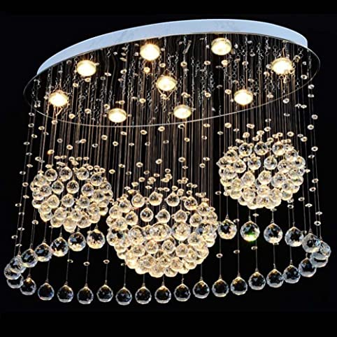 Linght Modern Crystal Chandelier Rain Drop Oval with Three Sphere ...