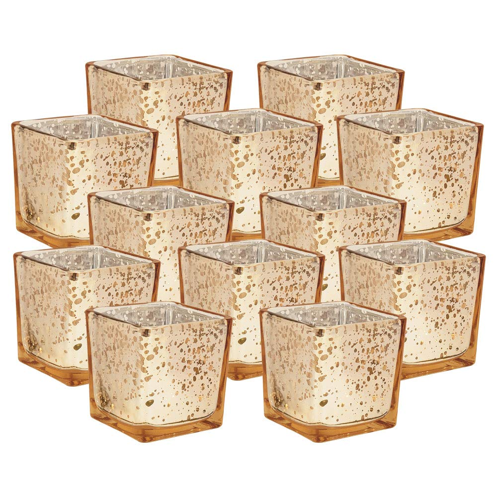Just Artifacts Mercury Glass Square Votive Candle Holder 3'' H (12pcs, Speckled Gold) - Mercury Glass Votive Tea Light Candleholders for Weddings, Parties and Home Décor