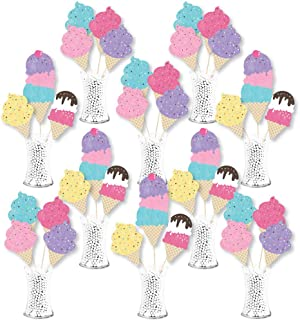 product image for Big Dot of Happiness Scoop Up the Fun - Ice Cream - Sprinkles Party Centerpiece Sticks - Showstopper Table Toppers - 35 Pieces