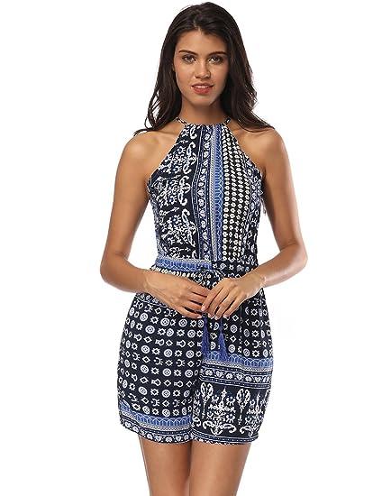 28da4f715507 Z I Women s Sexy Bohemian Ethnic Style Print High Neck Short Romper Jumpsuit  ...