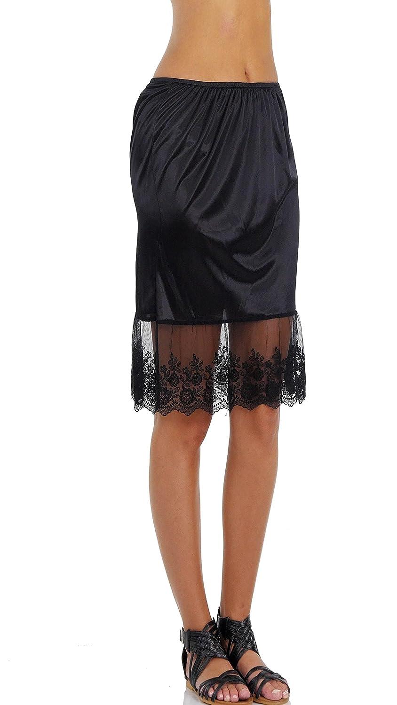 cc36fa2d4e Melody Women Single lace Satin Underskirt Half Slip Skirt Extender at  Amazon Women's Clothing store: