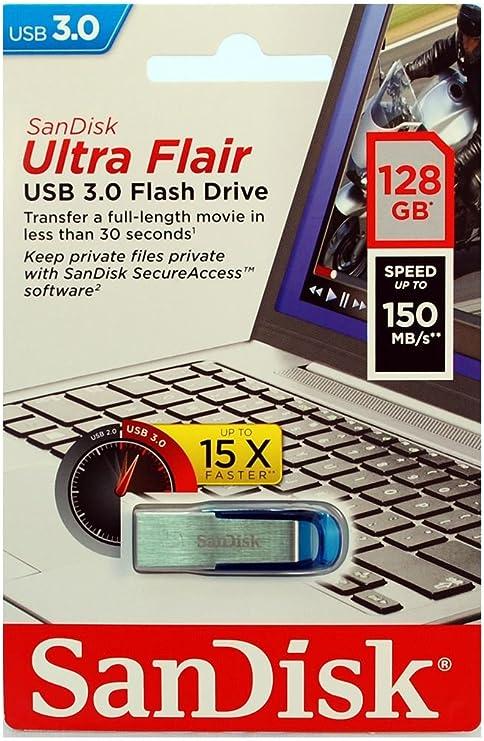 TALLA 128. SanDisk Ultra Flair Memoria Flash USB 3.0 de 128GB con hasta 150 MB/s de Velocidad de Lectura, Color Azul
