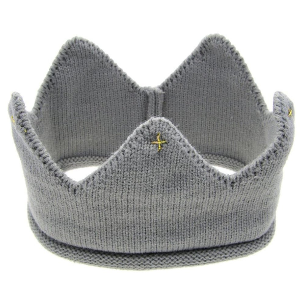 Amazon.com: dzsntsmgs Cute Baby Boys Girls Candy Color Crown Hat Knitting Cap Headwear Photo Props - Gray Comfortable, Crown Shape, Knitted, Cute and Warm, ...