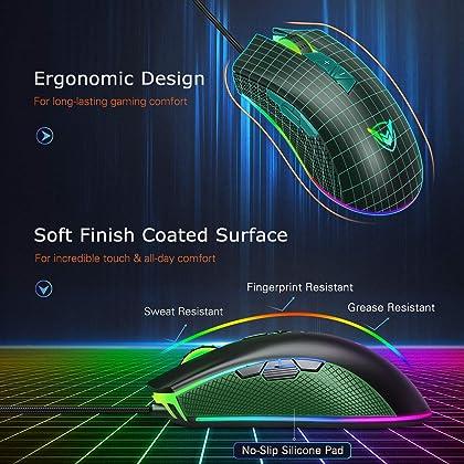 PICTEK Gaming Mouse Wired, 10000 DPI Adjustable, 8 Programmable
