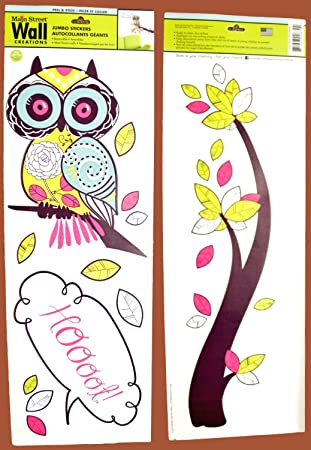 Main Street Wall Creations Jumbo Stickers   Cute Hoot Owl In A Tree Part 40