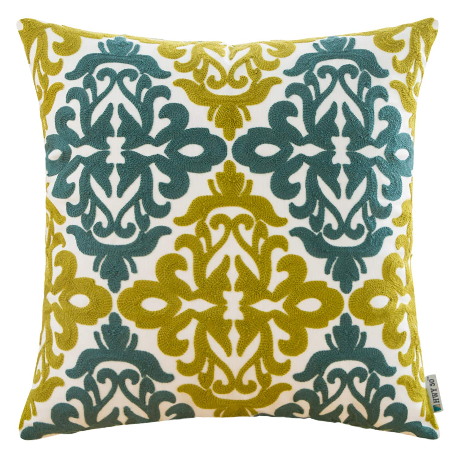HWY 50 Decorative Embroidered Throw Pillow Covers Cushion Cases for Couch Sofa Living Room 18 x 18 inch Farmhouse Green Blue Floral Geometric 1 Piece