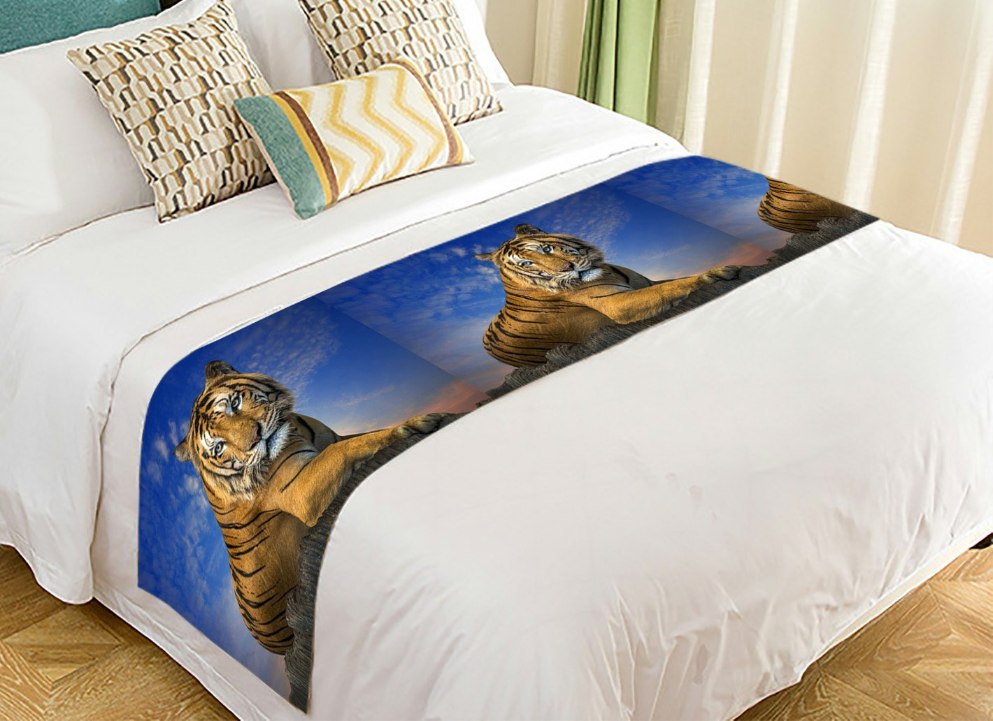 PicaqiuXzzz Custom Landscape with Beautiful Sky Bed Runner, Animal Tiger Bed Runners And Scarves Bed Decoration 20x95 inch