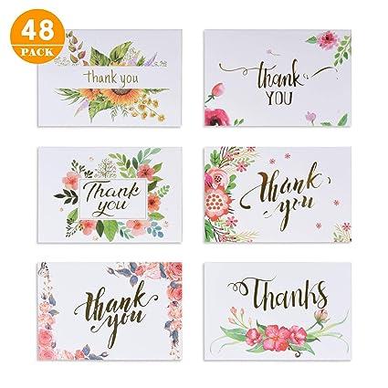 48 Tarjetas De Agradecimiento Florales, 6 Diseños Con Sobre ...
