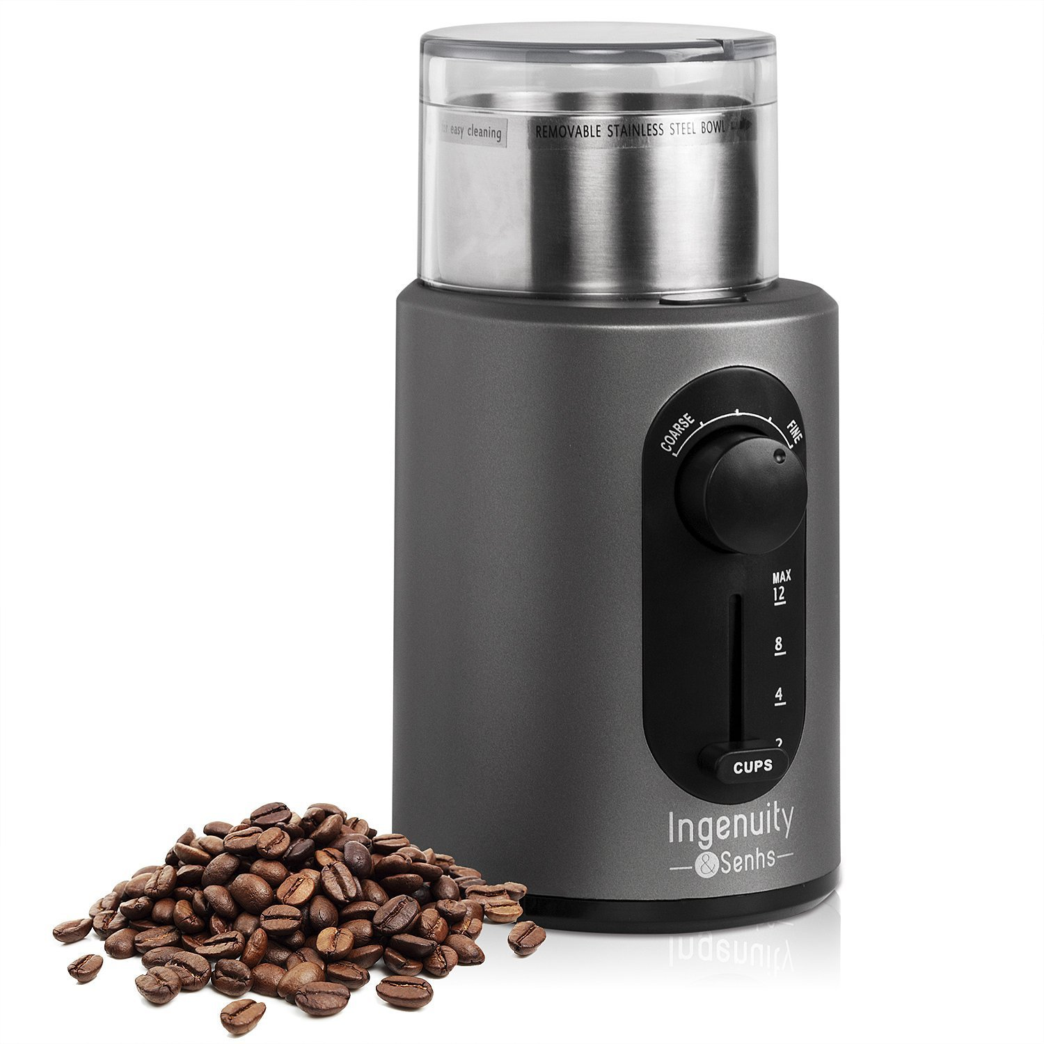 Electric Coffee Grinder Multifunction Spice Grinder with Stainless Steel Blades and Removable Cup, 12 Cups, 200 Watt, 110V by Senhs