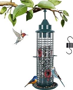 YIGSM Squirrel-Proof Bird Feeders F Inch Feeder - Hanging Wild Bird Feeder for Outside Garden Yard Decoration, 600ml Bird Food Capacity with 4 Metal Food Ports, 15.3 Inch