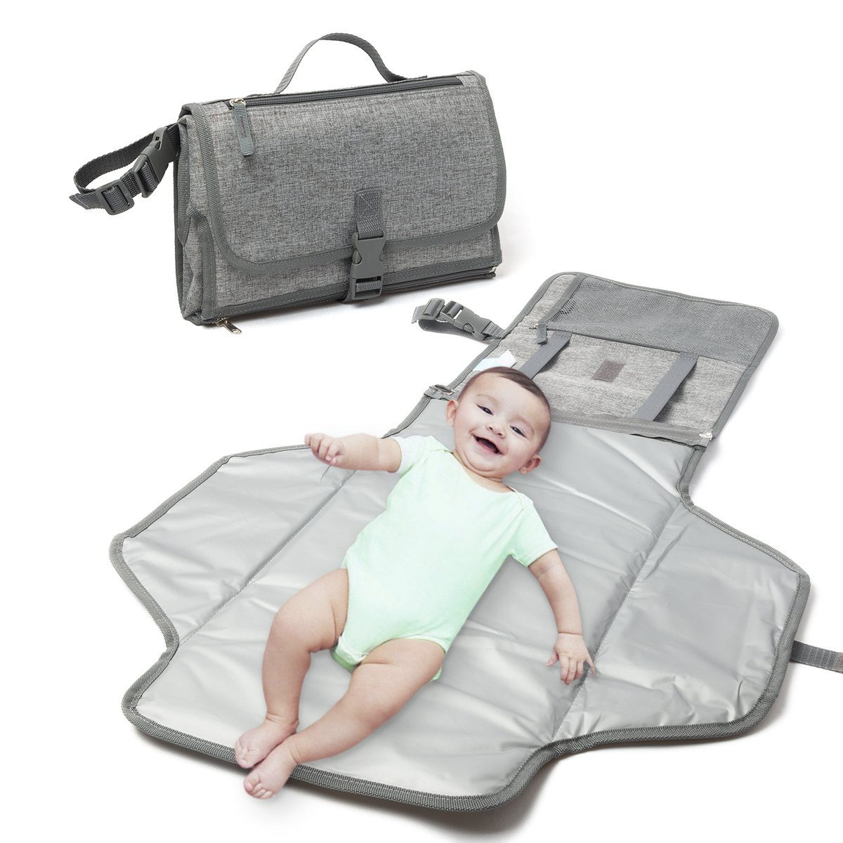 Changing Pad - Baby Changing Mat, Portable Travel Changer Station, Waterproof Diaper Pad, Diaper Pouch, Folding Diaper Clutch, Travel Kit for Baby, Small Detachable Wipeable mat with Pockets(Chevron) IBMC