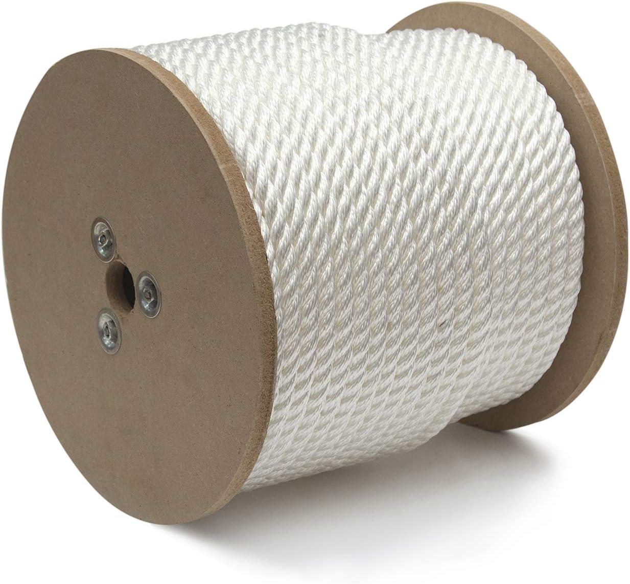 "KingCord 300491 Nylon Twisted Rope Reel 3/4"" x 150', White"