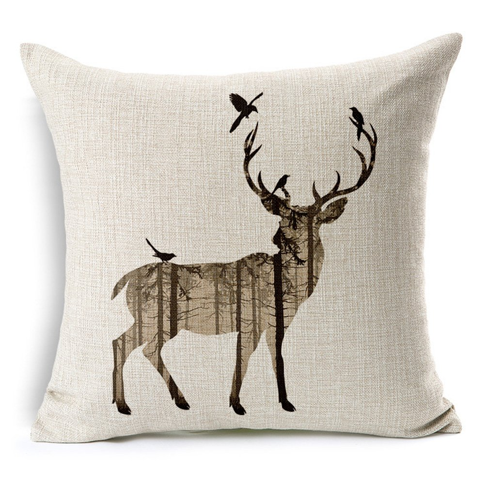 African wildlife Deer and Birds Printed Cotton Linen Decorative Pillow Cushion Cover, 17.7 x 17.7inches Cayman
