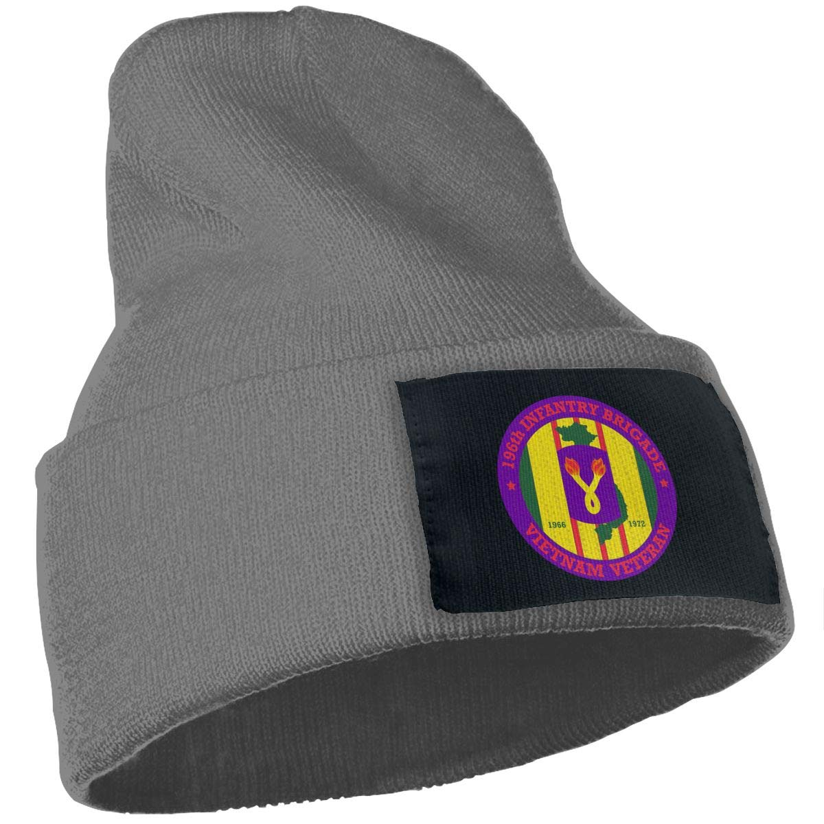196th Light Infantry Brigade Vietnam Veteran Winter Warm Hats,Knit Slouchy Thick Skull Cap Black