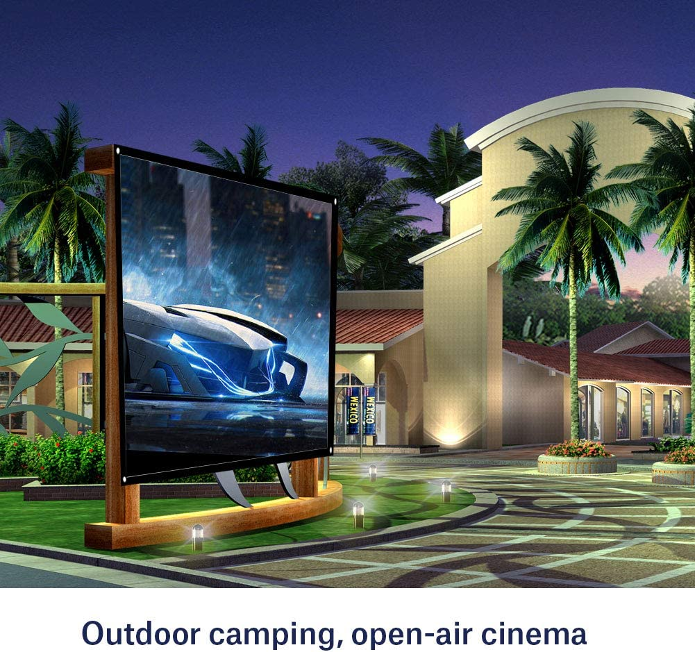 60in 60//72//84//100 Projector Curtain with Hanging Holes for Home Theater and Outdoor Projecting Tonysa 4:3 Portable Foldable Non-crease Projector Screen White