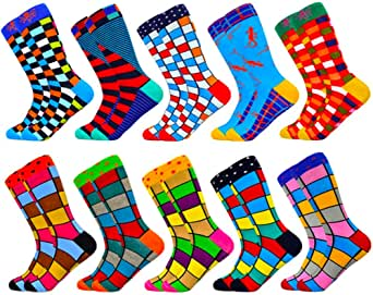 HIWEAR Mens Dress Colorful Funny Design Comfort Combed Cotton Crew Socks 5 Pack