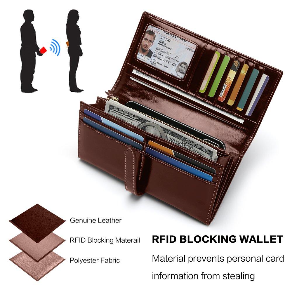 Portefeuille Femme RFID Blocage Sac /À Main Long de Grande Capacit/é Porte-Monnaie en Cuir V/éritable de Cire /Él/égant avec Chic Carte de Cr/édit et Fermeture /Éclaire de Poche