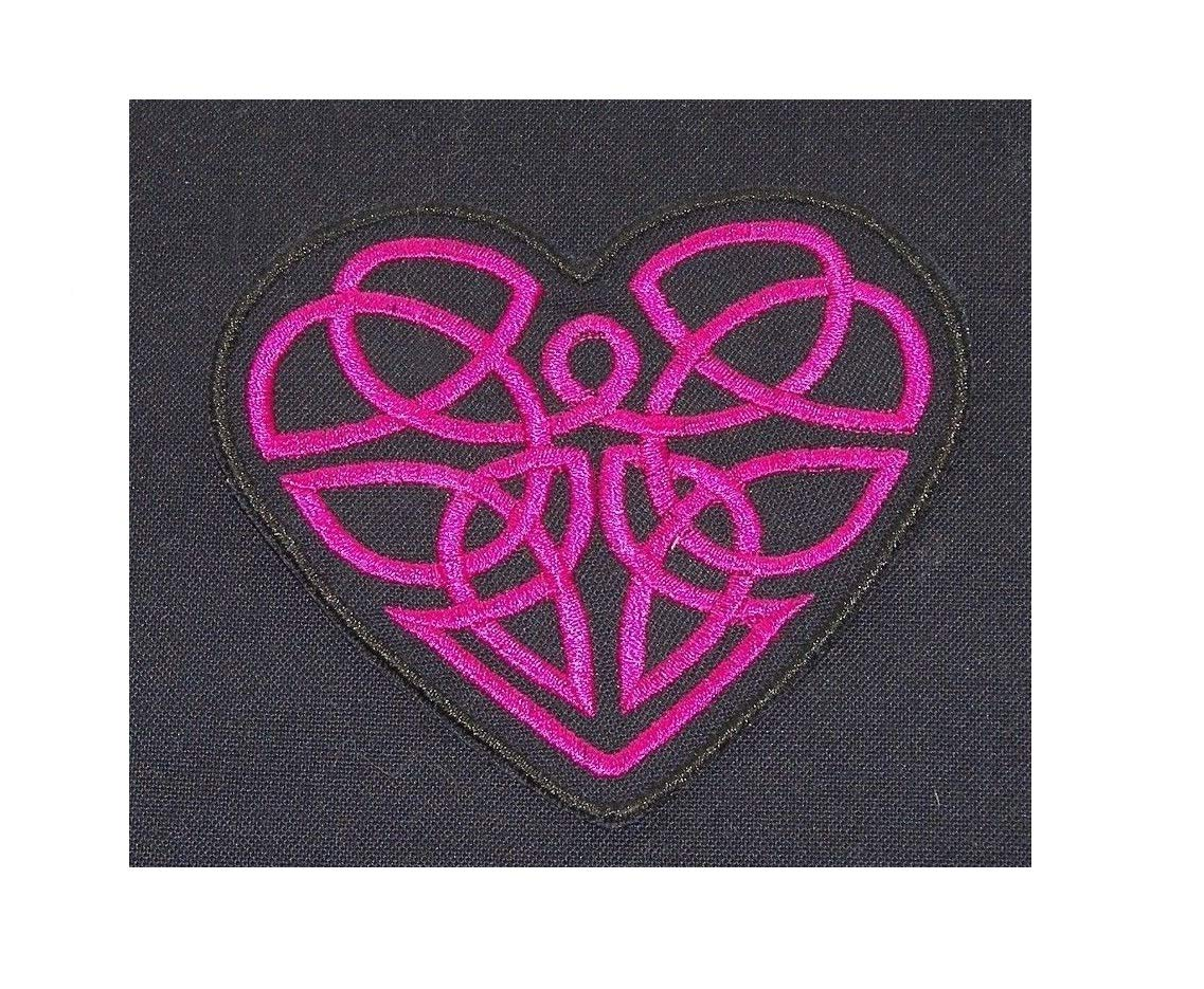 Embroidered Violet Purple Celtic Swirl Heart Love Black Patch Iron On Sew On USA