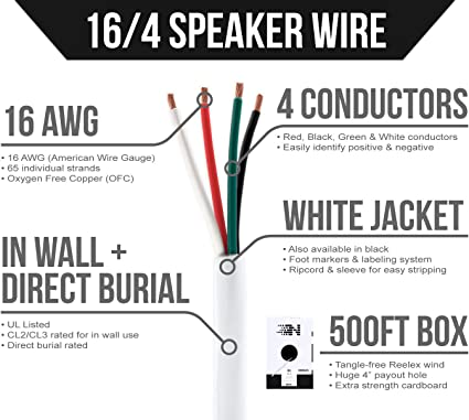 16 AWG Gauge 16//4 In-Wall Outdoor Burial UV CL3 Speaker Wire Cable Black 500FT