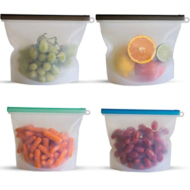 Reusable Silicone Food Storage Bags   Sous Vide Cooking   Meal Prep, Baby Food, Snack   BEST Non Toxic, BPA Free, Eco Friendly, Lunch Containers   Dishwasher Microwave Safe   4-2 large & 2 small