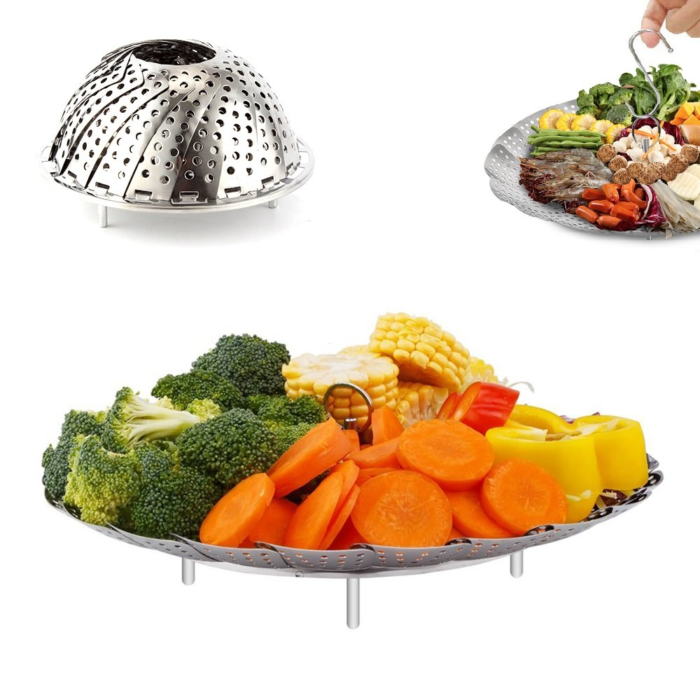 Vegetable Steamer Basket, OUREIDA Stainless Steel Folding Steamer Insert for Veggie Fish Seafood Egg Cooking, Expandable to Fit Various Size Pot (5.5'' to 9.3'')