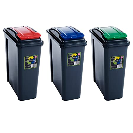 PLASTIC 25L PACK OF THREE RECYCLING BINS WASTE RUBBISH DUST GARDEN,KITCHEN  OFFICE RECYCLE BIN