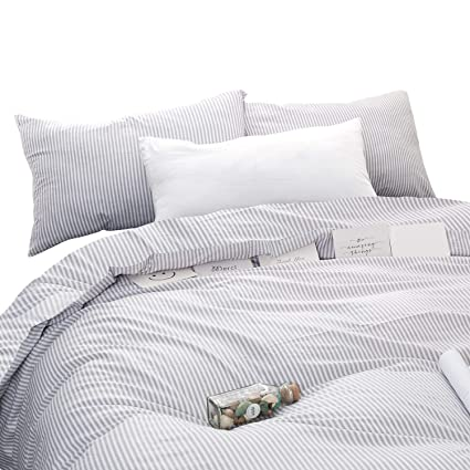 Amazoncom Wake In Cloud Gray White Striped Duvet Cover Set 100