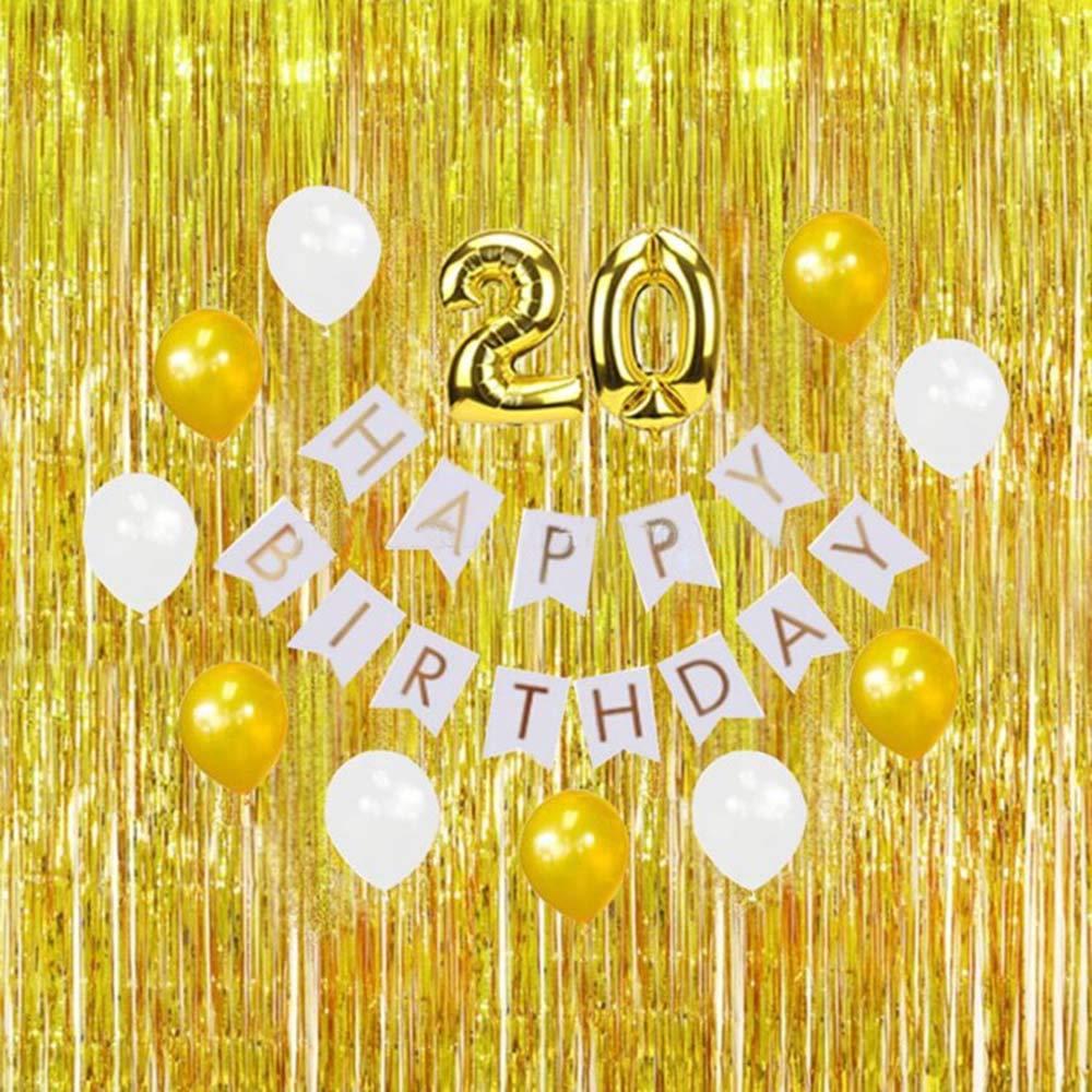 argento 2M Foil Fringe Shimmer Metallic Tenda per porte e finestre Decorazione per la festa di compleanno