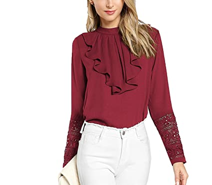 90dd35fc6b5c9d MASCHERANO Women Burgundy Ruffle Pleated Lace Stand Collar Long Sleeve  Blouse Workwear Shirt Top,Burgundy