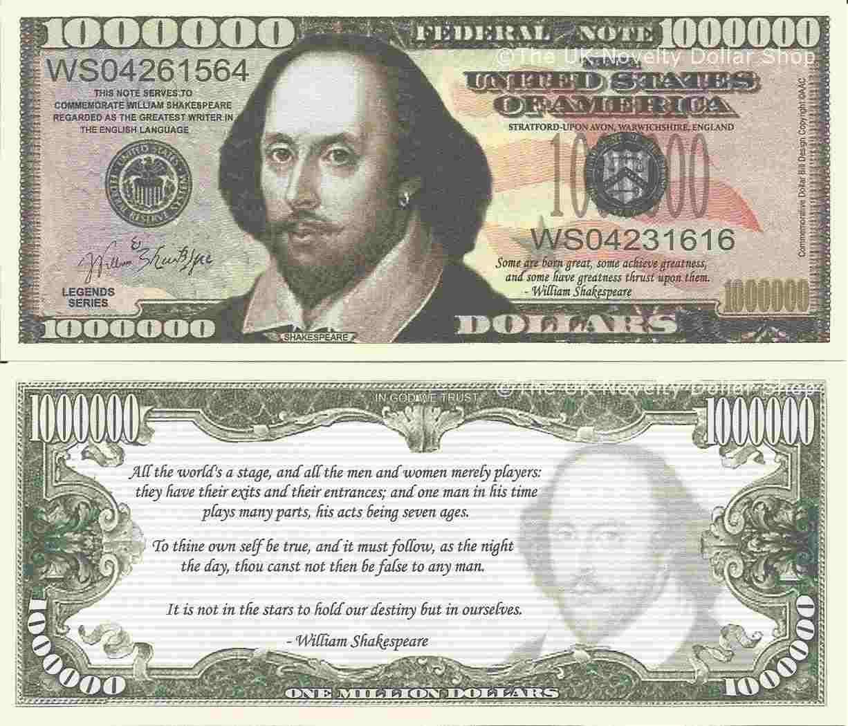 Novelty Dollar William Shakespeare English Writer Million Dollar