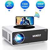 """WiFi Projector, WiMiUS K3 7200 Lux Video Projector Native 1920x1080 Indoor and Outdoor Projector Support 4K 300"""" Display…"""