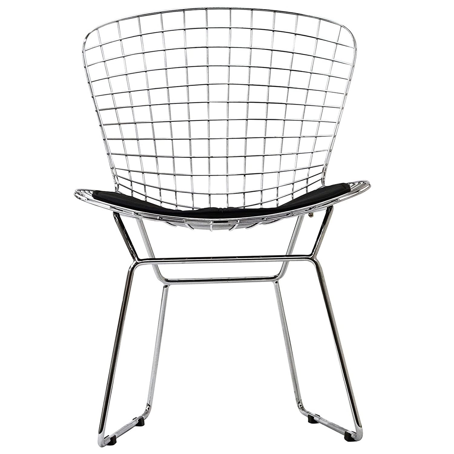Chair wire chairs missing cover - Amazon Com Modway Bertoia Style Side Chair With Black Cushion Chairs
