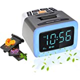 Olfactory Alarm Clock, Scent+Light+Sound Digital LED Clock with 4 Perfume Capsules, 7 Ringtones, Color Changing Night…