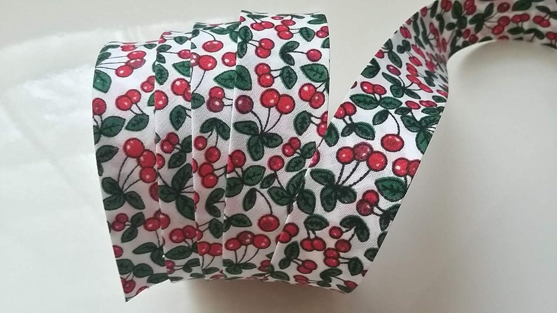Sbieco Liberty motivi frutta 20/mm attraverso Fantasia 20/mm e 38/mm Aperto/ /Cucito accessorio per finiture tessuto creazioni 100/% cotone nastro di sbieco per lavori manuali X 2/Metri