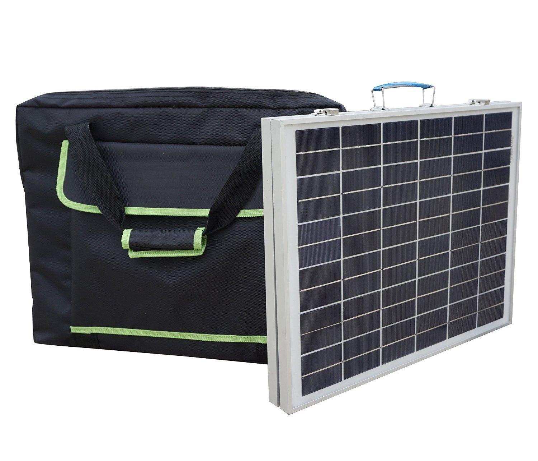 ECO-WORTHY 50W 12V Pannello Solare Pieghevole Portatile policristallino con Borsa Valigia Solare Esterna per Caricabatterie da 12 Volt L02FP40-B40-1