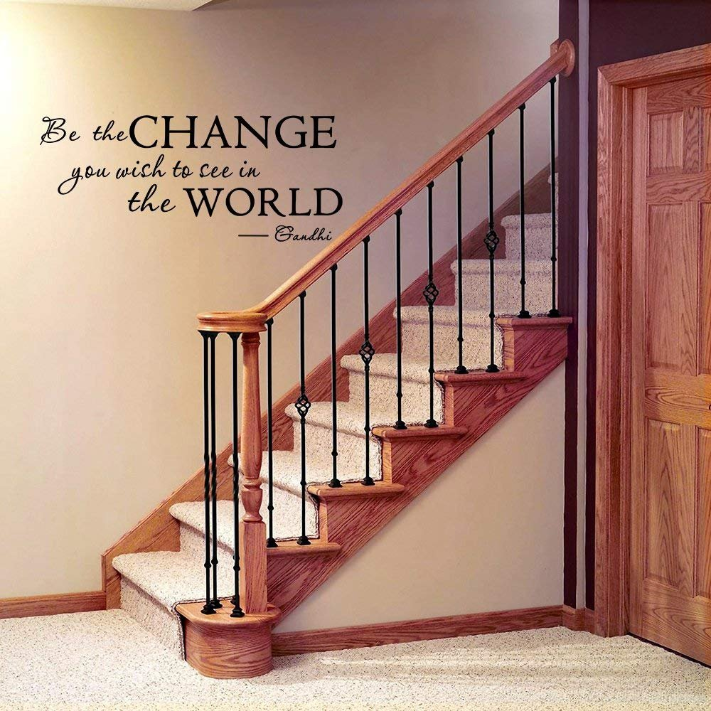 LUCKKYY Be The Change You Wish Words Quote Vinyl Family Wall Decal Family Room Art Decoration Living Room Decor Decoration for Home Decor C-Black