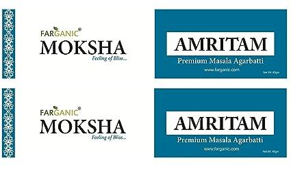 Natural no tóxico 100% Pure Masala Agarbatti - Set de 2 amritam Moksha serie muy