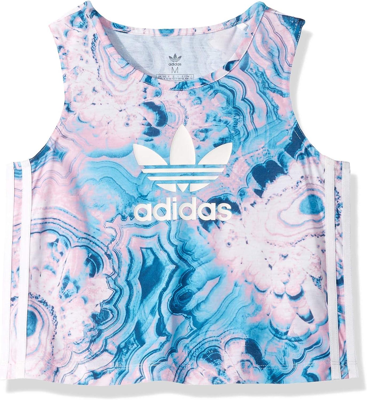 encima Laboratorio solapa  Amazon.com: adidas Originals Girls' Big Marble Crop Tank Top, multi/legend  marine/white, X-Large: Clothing
